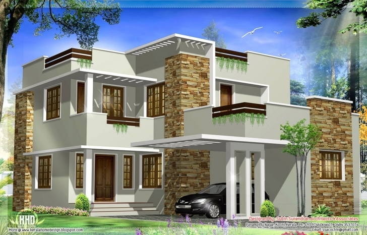 Good Square-Feet-Modern-House-Elevation-Kerala-Home-Design Kerala Modern House Plan And Elevation Image