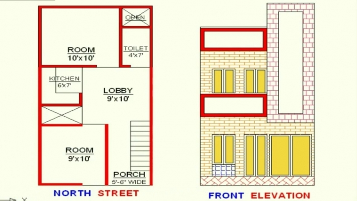 Good Vastu 15X30 Plan+Elevation North Face - Youtube 15X30 House Plan Picture