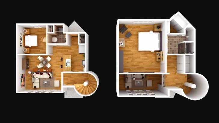 Gorgeous 2 Story 3D Floor Plan Images Plans Unique House Homes Of Including 4 Bedroom 2 Storey House Plans 3D Image