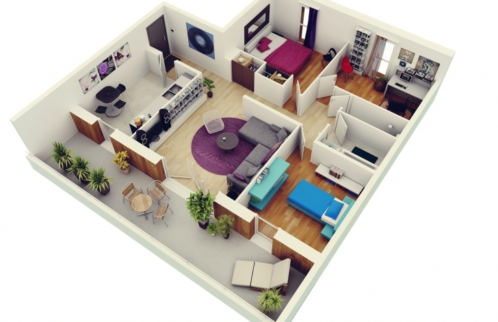 Gorgeous Free 3 Bedrooms House Design And Lay-Out 3 Bedroom Floor Plan Bungalow 3D Image