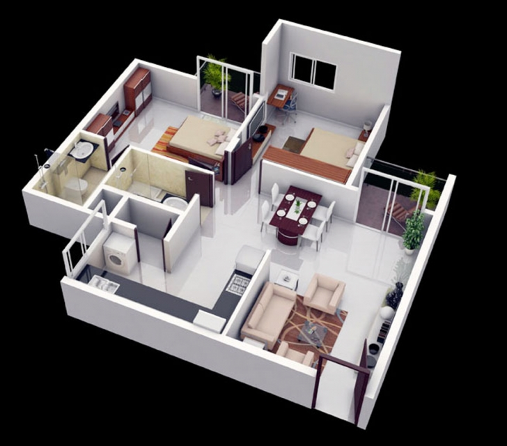 Gorgeous Modern 2 Bedroom House Plans 3D Images Ideas More Floor Layout With Fantastic 3D Modern House Plan Photo