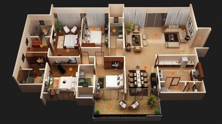 Gorgeous Modern Bedroom House Plans Ideas And Outstanding Simple Designs 4 Simple House Plan With 4 Bedrooms 3D Image