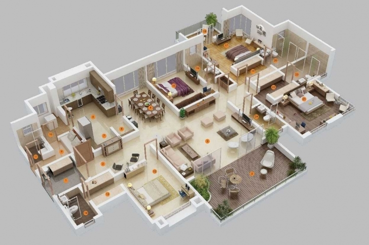 Gorgeous Plan For A Bedroom House Trends With Stunning 4 Bungalow Floor Plans 4 Bedroom Bungalow House Plans 3D Picture