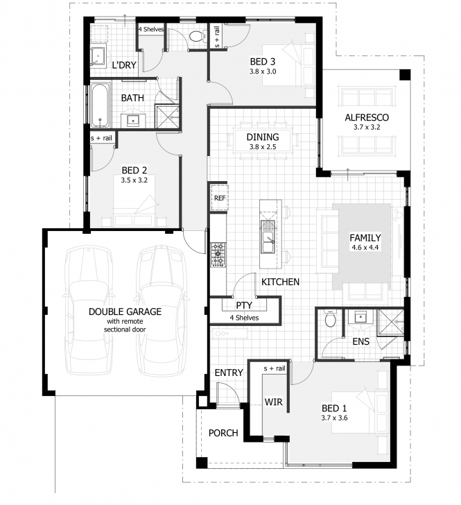 Gorgeous Plan For A House Of 3 Bedroom - Homes Floor Plans 3 Bedroom Flat Plan Image