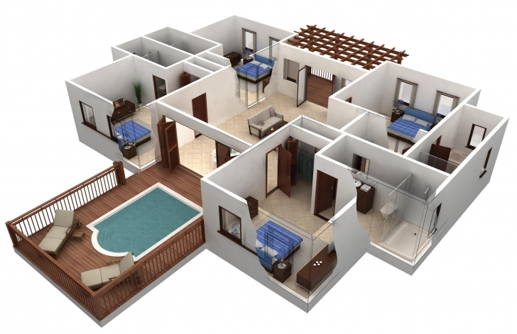 Gorgeous Simple House Plans 4 Bedrooms - Homes Floor Plans 4 Bedroom Building Plans And Designs Photo