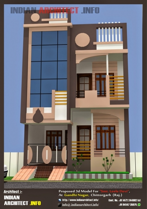 Gorgeous Smt. Leela Devi House 20' X 50' 1000 Sqft Floor Plan And 3D 20*50 House Plan India Pic