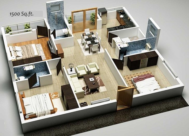 Great 3D Home Plan 1500 Sq Ft Ideas Awesome Design House Plans In Square 1500 Sq Ft House Plans 3D Pic