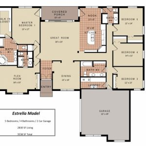 Simple 4 Bedroom House Plans One Story