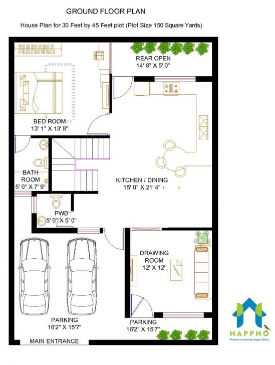 Great Apartments : Bhk Floor Plan For X Feet Plot Square Sq Ft Home Design House Plan For 15 Ft By 45 Ft Image