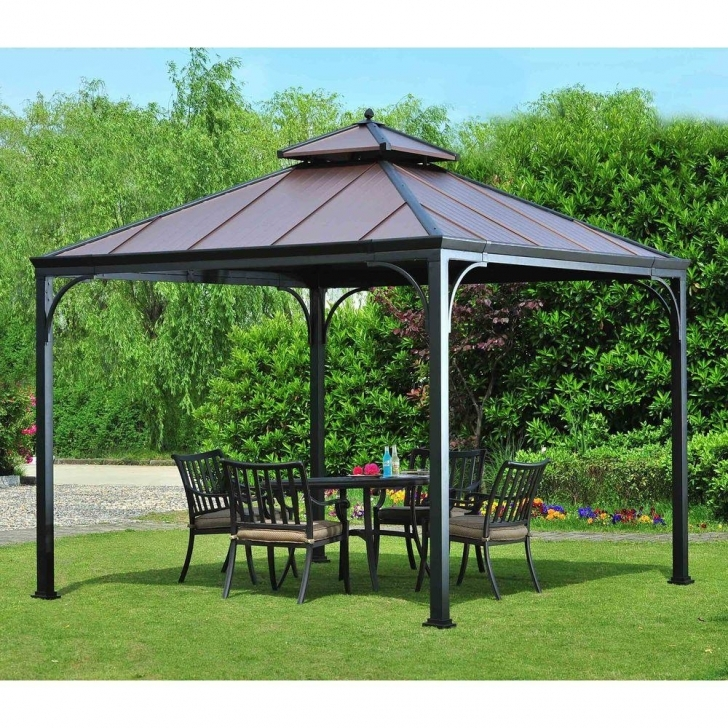 Great Hampton Bay Harper 10 Ft. X 10 Ft. Steel Hardtop Gazebo-L-Gz680Pst-M Steel Gazebo Against House Image