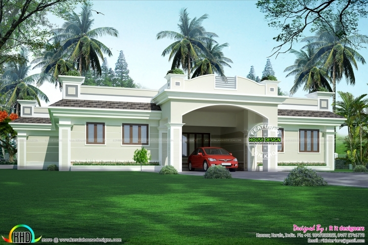 Great Luxury Single Floor Home - Kerala Home Design And Floor Plans Ground Floor House Parapet Image Photo