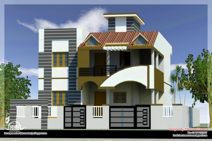Great Modern House Front Side Design India Elevation - Building Plans House Front Design Image Pic