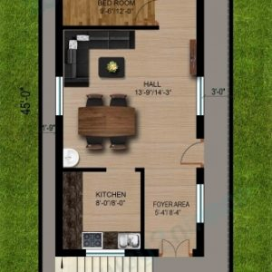 20X45 House Plan East Facing