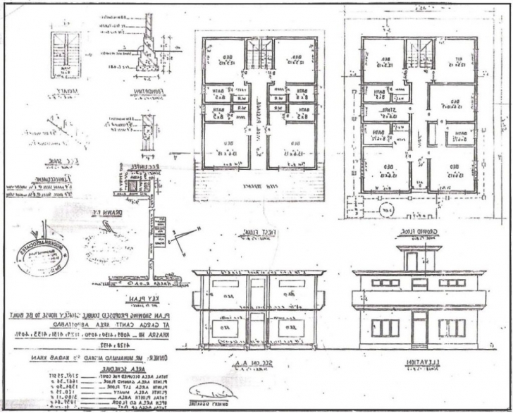 Image of 28+ Collection Of Building Drawing Plan Elevation Section Pdf | High Plan Section Elevation Drawings Photo