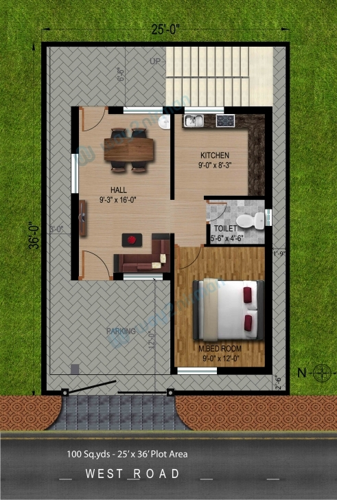 Image of 30 Awesome Home Plan 100 Sq Yards Pictures | House Plan Ideas 20*50 House Plan 1Bhk Pic