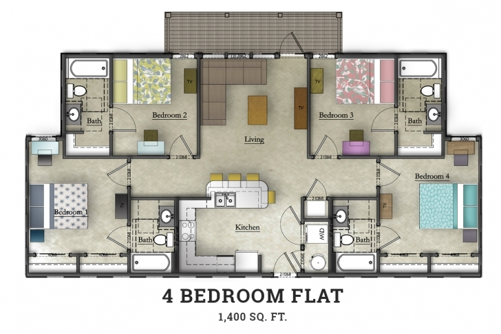 Image of 4 Bedroom | Home Design Ideas 4 Bed Room Flat Picture