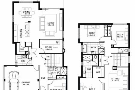 Simple 4 Bedroom House Plans 2 Story