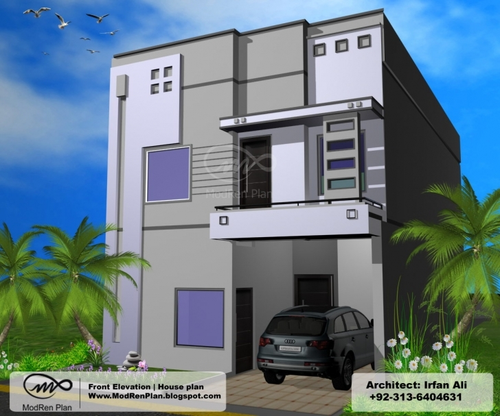 Image of 5 Marla Front Elevation|1200 Sq Ft House Plans|Modern House Design 5 Marla Front Elevation Of House Picture
