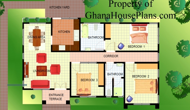 Image of Apartments : Ghana House Plans Elmina Plan Bed Detached Elimina 3 Bedrooms House Plan In Ghana Pic