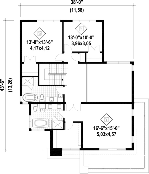 Image of Bathroom : Modern Foot Wide House Plans Ranch Lot Its Always 13 * 50 House Plan Picture
