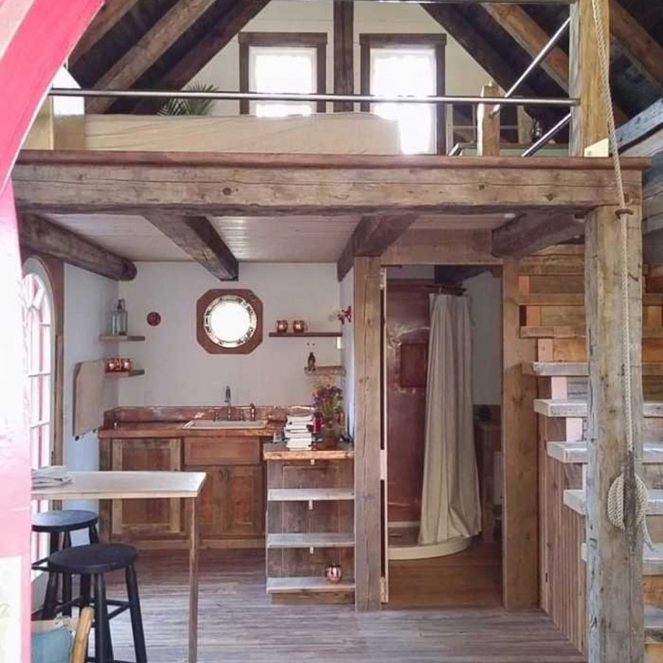 Image of Coolest Tiny Homes In Each State | Family Handyman 2 Story Tiny House Interior Photo