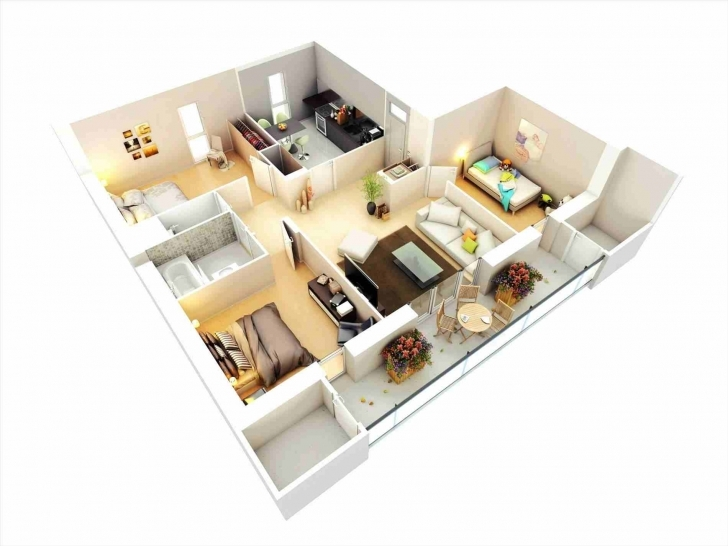 Image of Elegant Modern 3 Bedroom Bungalow Floor Plans 3D Bedroom Bungalow 3 Bedroom Floor Plan Bungalow 3D Pic