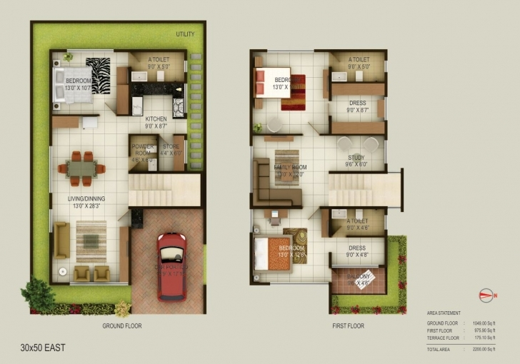 Image of Fancy Design 4 Duplex House Plans For 30X50 Site East Facing 30 X 40 East Facing House Vastu Plan 30X50 Image