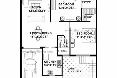 3Bhk House Plan 35×40