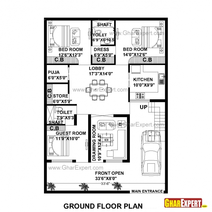 Image of House Plan For 35 Feet By 50 Feet Plot (Plot Size 195 Square Yards Plot Size 17*50 Image