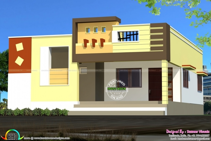 Image of Inspirations: Front Elevation Of Single Floor House Ideas And View Single Floor Elevation Work Picture