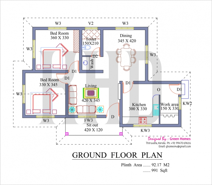 Image of Low Cost House In Kerala With Plan & Photos - 991 Sq Ft - Khp Kerala House Planner Pic