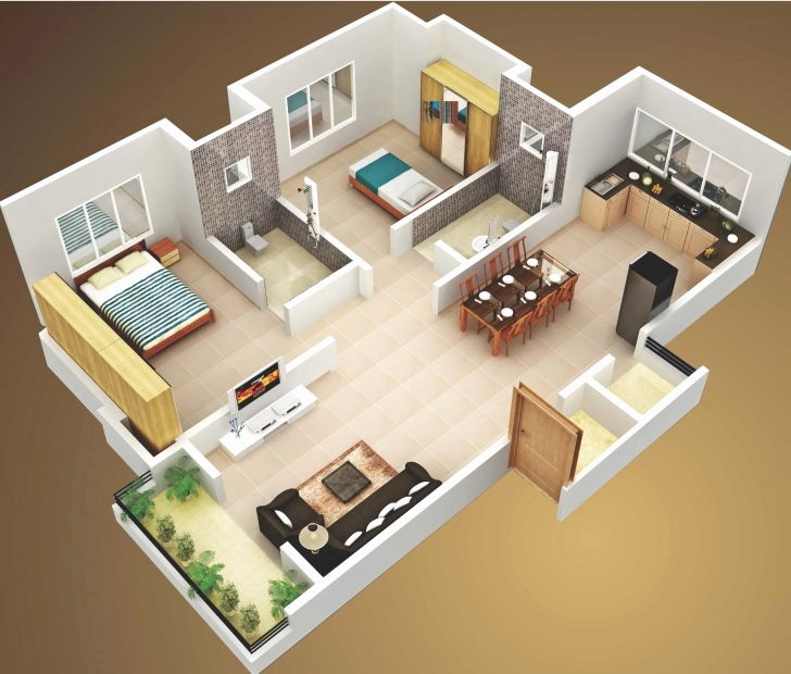 Image of Simple House Plan With 2 Bedrooms 3D Best Of Interior 3D Two Bedroom Simple House Plan With 2 Bedrooms 3D Picture