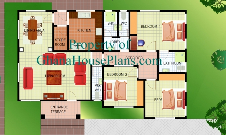 Incredible 3 Bedroom House Plans In Ghana Awesome Three Bedroom Building Plan 3 Bedroom House Floor Plans In Ghana Picture