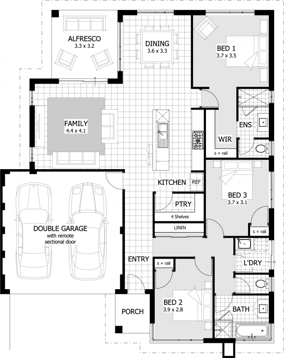 Incredible 3 Bedroomed House Designs Half Plot Double Floor Plan Picture