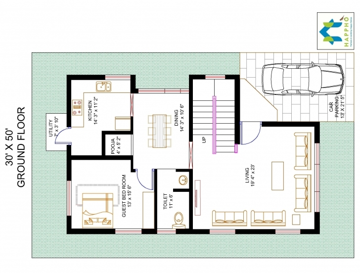 Incredible 3-Bhk Floor Plan For 30 X 50 Plot (1500 Square Feet/166 Squareyards 30*50 House Plan 3Bhk Photo