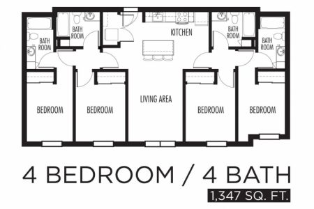 Simple 4 Bedroom Flat Plan