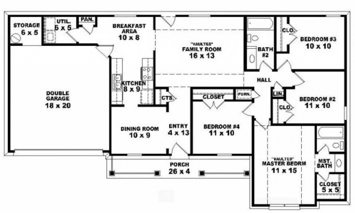 Incredible 4 Bedroom Single Floor House Plans Best Platform Beds Forum Review Four Bedroom Floor Plans Single Story Photo