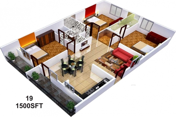 Incredible Appealing Sq Ft House Inspirations Also Awesome 3D Home Plan 1500 1500 Sq Ft House Plans 3D Photo
