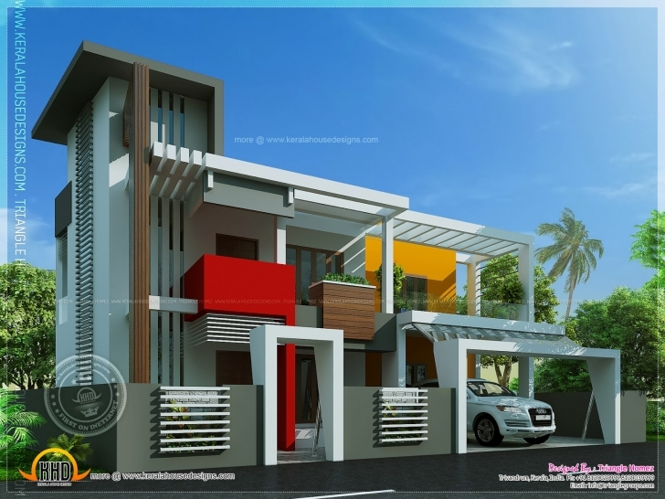 Incredible Contemporary House Unique Design Indian Plans - Tierra Este | #85668 Modern Architecture Villas Plan And Elevation Image