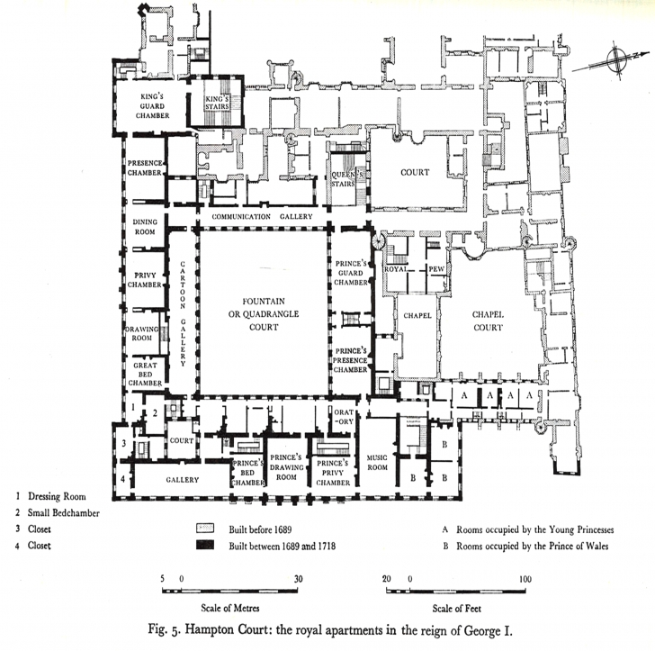 Incredible Hampton Court Palace - First Floor Plan Under George I (Circa 1720 Princess Residential Floor Plan Bungalow Image