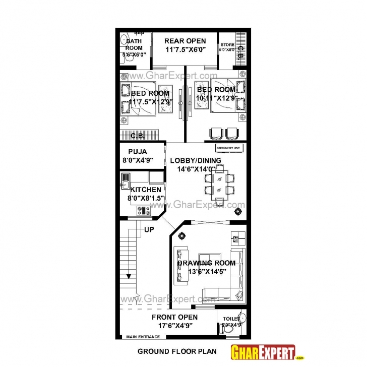 Incredible House Plan For 24 Feet By 56 Feet Plot (Plot Size 149 Square Yards House Plan For 24 Feet By 60 Feet Plot Pic