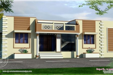 Front Elevation Of Single Floor Home In India