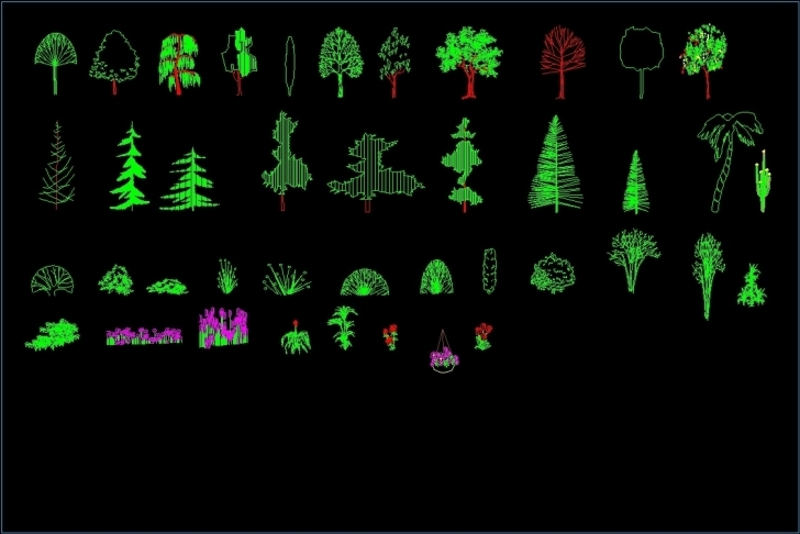 Incredible Trees And Plants Elevation 2D Dwg Elevation For Autocad • Designs Cad Autocad 2D Plants Picture