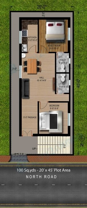 Incredible Way2Nirman: 100 Sq Yds 20X45 Sq Ft North Face House 2Bhk Elevation 20*50 House Plan 2 Bhk 3D View Image