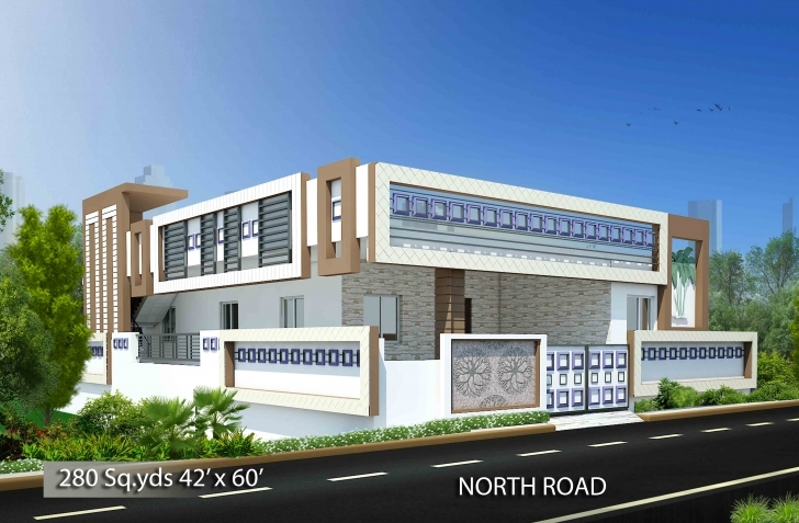 Incredible Way2Nirman: House Plans With Plan, Elevation & Isometric View Photos. Front Elevation Designs For North Facing House Picture