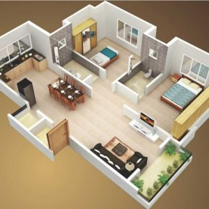 Simple House Plan With 2 Bedrooms 3D