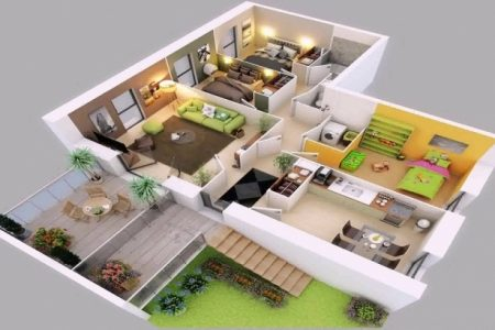 2 Story 4 Bedroom House Floor Plans 3D