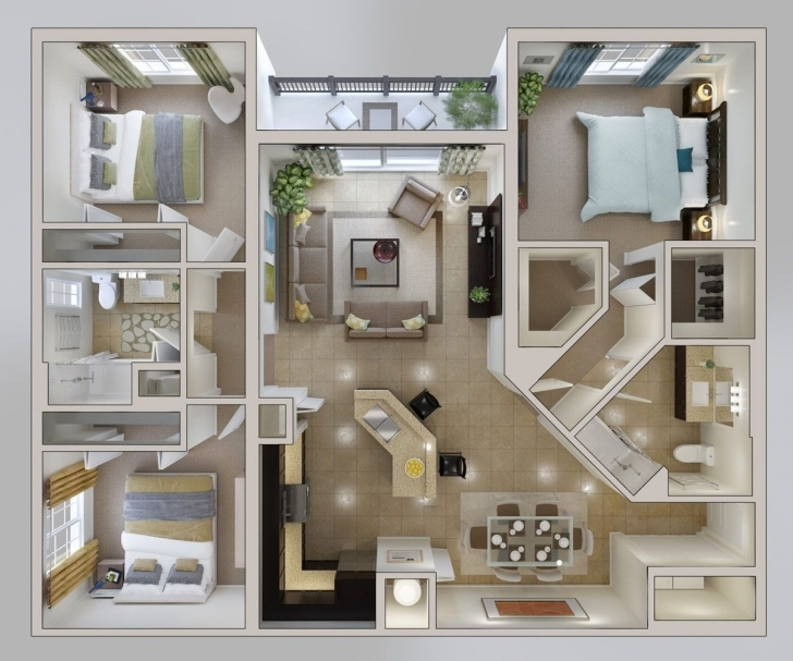 "Inspirational 50 Three ""3"" Bedroom Apartment/house Plans 