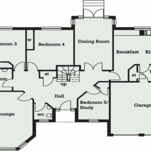 Architectural Plan For A 5 Bedroom Bungalow