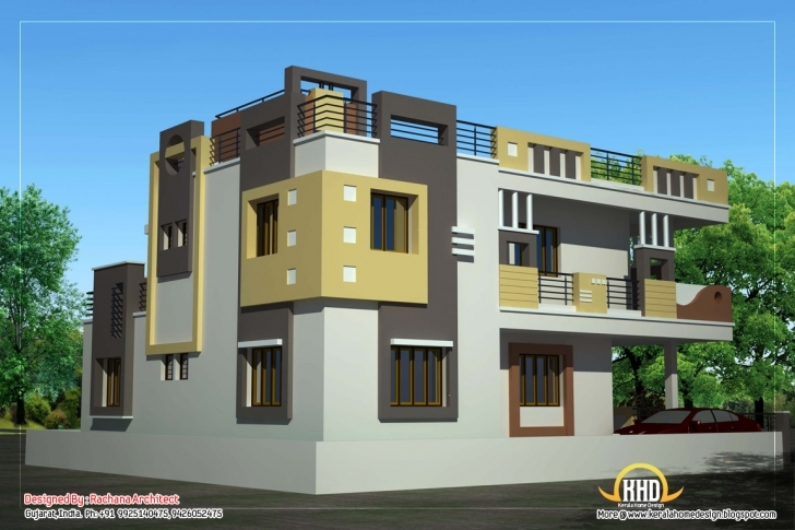 Inspirational Duplex House Plan And Elevation - 2878 Sq. Ft. | Indian Home Decor G+2 Residential Building Plan And Elevation Pic